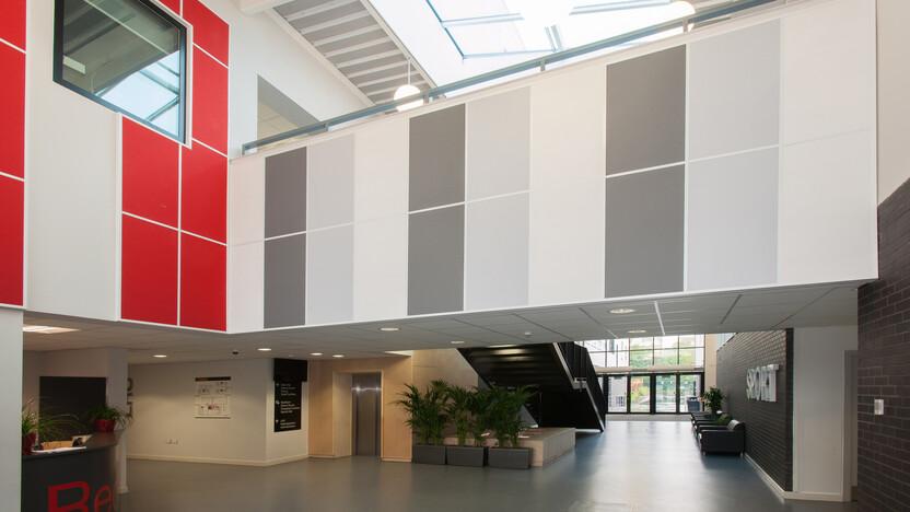 Heartlands Academy, Rockfon Color-all Plaster Concrete Charcoal Chili wall absorbers, Rockfon Contour, Sonar B, Scholar, Hygienic, education